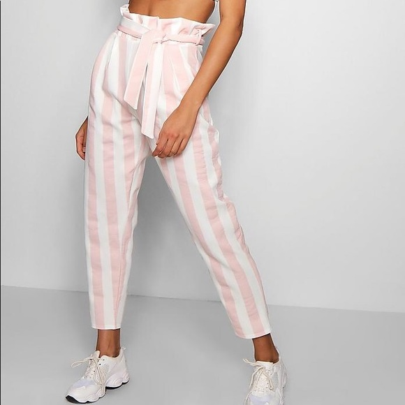 d47234f07807 Boohoo Pants - Boohoo Pink & White Striped Paperbag Pants, Size 4